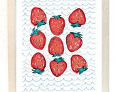 Red and Blue Strawberry Giclee Print 8.5 x 11in