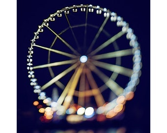paris photography, ferris wheel print, travel photography, nighttime, tilt-shift, france, paris home decor / la grande roue de paris