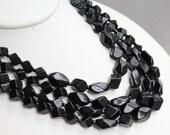 Vintage multi strand black glass beaded necklace