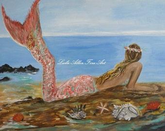 "Mermaid Art Print Giclee Wall Art Mermaids Ocean Beach Seascape Star Fish Conch Shell Fantasy Magical Decor Child  ""Mermaid Beauty"""