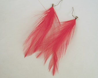 Feather Earrings Bright Red