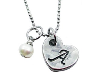 Hand Stamped Heart Initial Charm Necklace