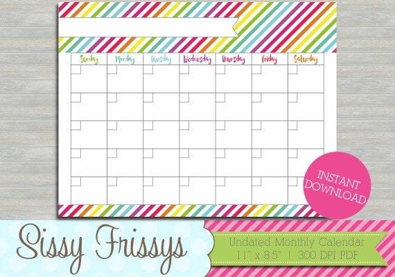 Undated Monthly Calendar : Instant download undated printable planner monthly calendar