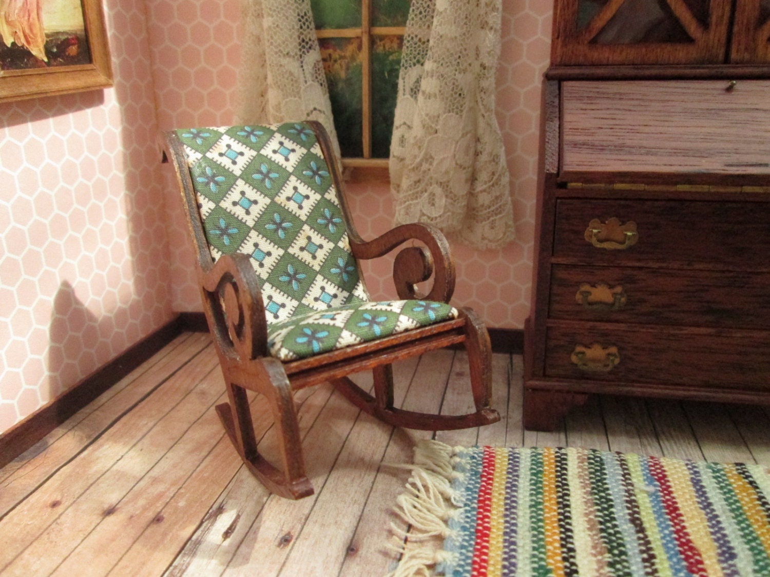 Vintage Dollhouse Furniture Lynnfield Rocking Chair With