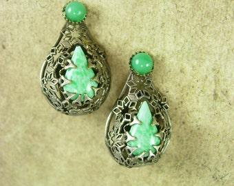 Sterling Peking Glass earrings Vintage Deco ornate clip on hallmarked silver jewelry Chinese Export
