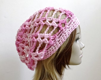 Bohemian Rhapsody - CHAINED Melody - Chain Link Slouchy Hat with Designer Grade Cotton Ribbon Yarn  - Lightweight Summer Hat Sun Protection