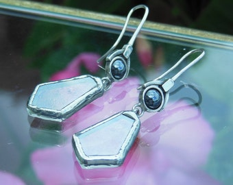 Deco Cut Translucent Glass Sterling and Hematite Earrings