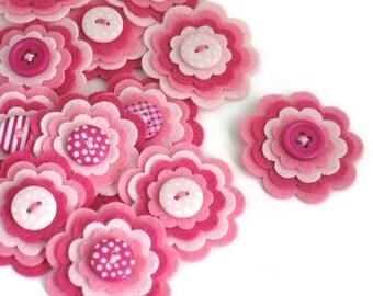 BUBBLEGUM Felt Flower Embellishments, Pink Handmade Felt Flowers, Felt Appliques, Baby Girl Felt Embellishment, Set of 3
