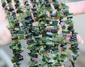 "FUN...Gem Green Pink Tourmaline Naturally Faceted Rough Free Form Stick Crystal Point Petite Briolettes 3"" strand"