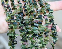 """FUN...Gem Green Pink Tourmaline Naturally Faceted Rough Free Form Stick Crystal Point Petite Briolettes 3"""" strand"""