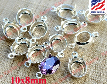 Oval 10x8mm Prong Setting Sterling Silver Plated 1 Ring 2 Ring - 12 pcs