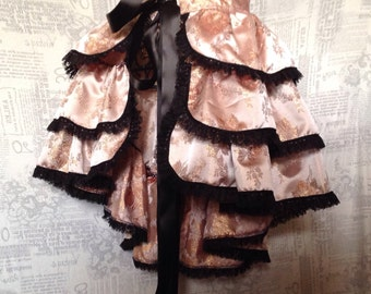 Burlesque Bustle skirt gold brocade with black lace