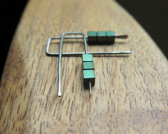 small niobium earrings. green jewelry. geometric jewellery. Canadian seller.