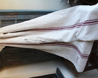 Nr. C330:  antique DUVETCOVER coverlet upholstery fabric rustic and rural CREAMY and deep red stripes color LAUNDERED