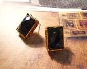 SALE - Rectangle Black Diamond Stud Earrings