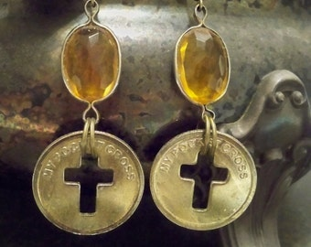 Pocket coin cross earrings - Topaz glass stone - November birthstone - One of a Kind bycat