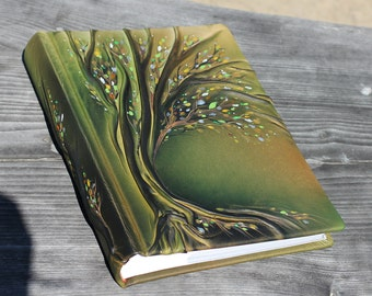 Leather photo album 13x9  with Tree for 300 photos Anniversary gift wedding gift