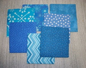 Fat Quarters, Bundle of 7,  Shades of Blue, Lot FQ-1  (Free US Shipping)