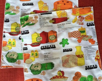 Vintage Food & Recipes Kitchen Napkins Pair with Cake, Cookies, Bread, Cereal Design 60s 70s