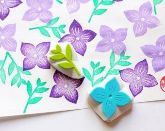 violet flower hand carved stamp. flower petal and leaf stamp. diy birthday wedding. scrapbooking. gift wrapping. card making. set of 2
