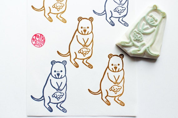 Mother And Baby Gifts Australia : Quokka hand carved rubber stamp australian animal