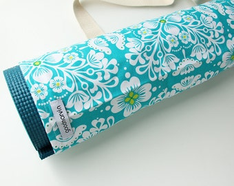 Yoga Mat Bag, Pilates, Womens, Yoga Mat Tote, Sling Bag, White and Turquoise Floral