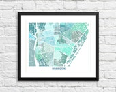 Wilmington North Carolina Art Map Print.  Color Options and Size Options Available.  Map of Wilmington NC.