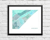 Myrtle Beach South Carolina Art Map Print.  Color Options and Size Options Available.  Map of Myrtle Beach.
