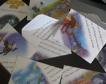 Envelopes, A Bugs life story pictures, hand crafted, for Bday cards, invitations, thank you notes, scrapbooking, 8 envelopes