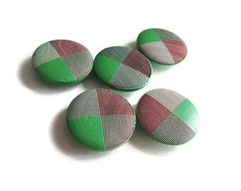 Green shank wooden buttons 20mm - set of 5 wood buttons (BB100D)