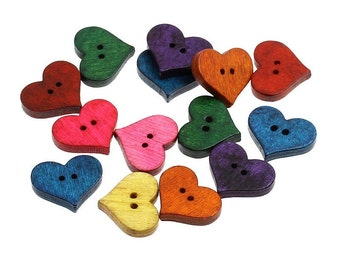 Hearts shapes 25 Mixed Colors Buttons - Wood sewing buttons 20mm (BB091)