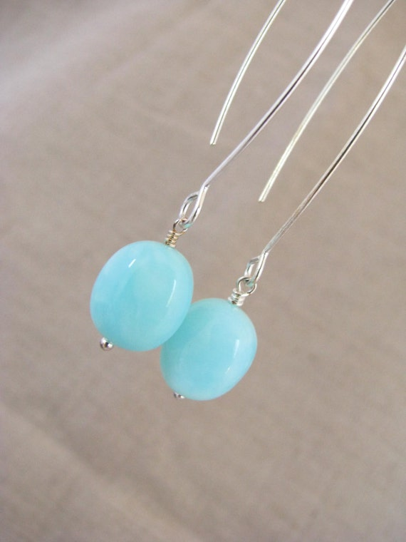 peruvian blue opal earrings peruvian blue opal long dangle. Black Bedroom Furniture Sets. Home Design Ideas