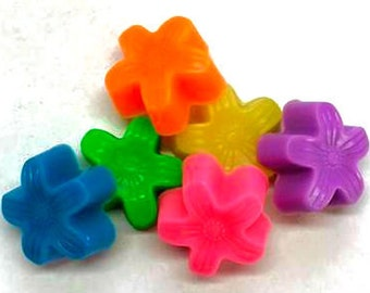Flower Soaps - Tropical Mini Flowers - Bright Colors - Set of 10 - You Choose Color and Scent