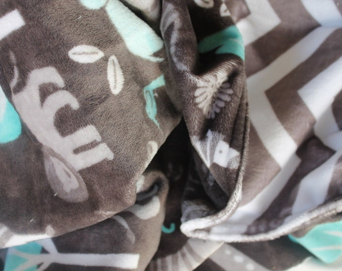 Reversible Baby Toddler Minky Personalized Monogrammed Embroidered Soft and Comfy Nursery Customized Jungle Tales Chevron 30x36 Blanket