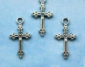 100 cross charms with dots and lines, silver tone, 21mm