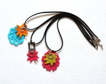 Handmade crochet necklace/ multicolor necklace/crochet jewelry/spiral necklace/crochet pendant/women accessories/fiber necklace/crochet cord