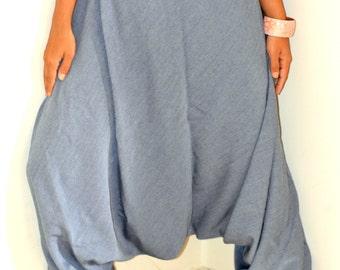 Denim Harem Pants/Hippie Pants/Gypsy Pants/Romper/ Genie pants/Yoga pant/Bohemian pants/wide leg pants/ MADE TO ORDER  in Any Size