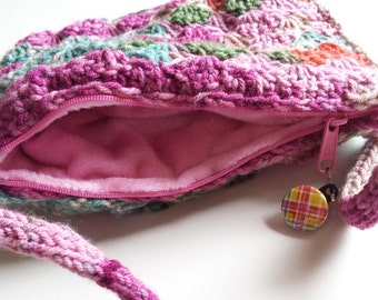 Cute Multi Pink and Green Crocodile Stitch Handbag