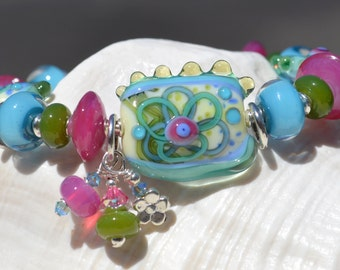 Reserve for Annie-BLOOMING-Handmade Lampwork and Sterling Silver Bracelet