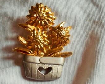 Vintage flower Pot Brooch Pin, signed
