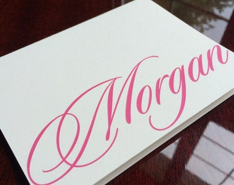 Personalized Sationery With Name Elegant Pink on Cream Stationary Note Cards by Lime Green Rhinestones
