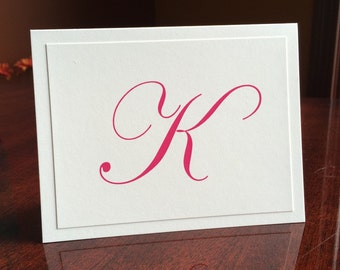 Personalized Stationery with Initial Custom Stationary Pink on Cream Note Cards by Lime Green Rhinestones