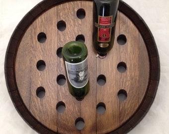 Dark Walnut Stained Napa Valley Wine Barrel Wine Rack - 19 Bottle