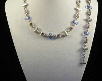 Rhinestone Bar Necklace and Bracelet Set