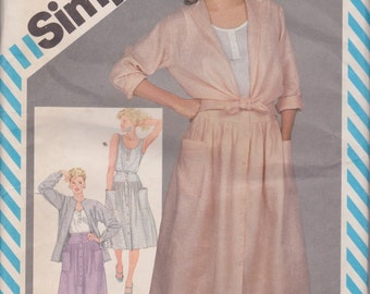 Simplicity 6299 Misses' Front Buttoned Skirt, Unlined Jacket and Top Size 12 Vintage UNCUT Pattern Rare and OOP