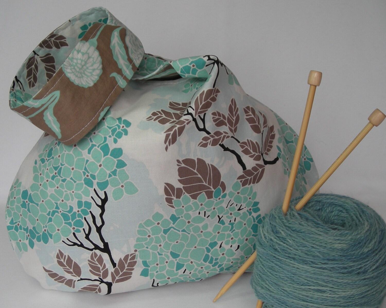 Knot Bag Knitting Pattern : Japanese knot bag medium size project bag for knitting