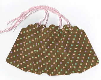 Tiny Pastel Polka Dots Gift Tags (6) PreStrung Scallop Top Hang Tags / GTL39 / Favor Bag Tags / Package Decor / Ready To Ship