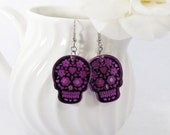 Purple Mirror Sugar Skull Earrings