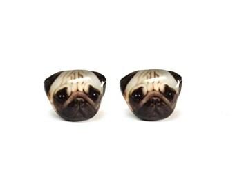 Cute Little Tan Pug Stud Earrings - A025ER-D15   Made To Order
