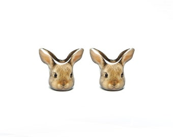 Cute Brown Bunny Rabbit Stud Earrings - A025ER-E08 Made to Order